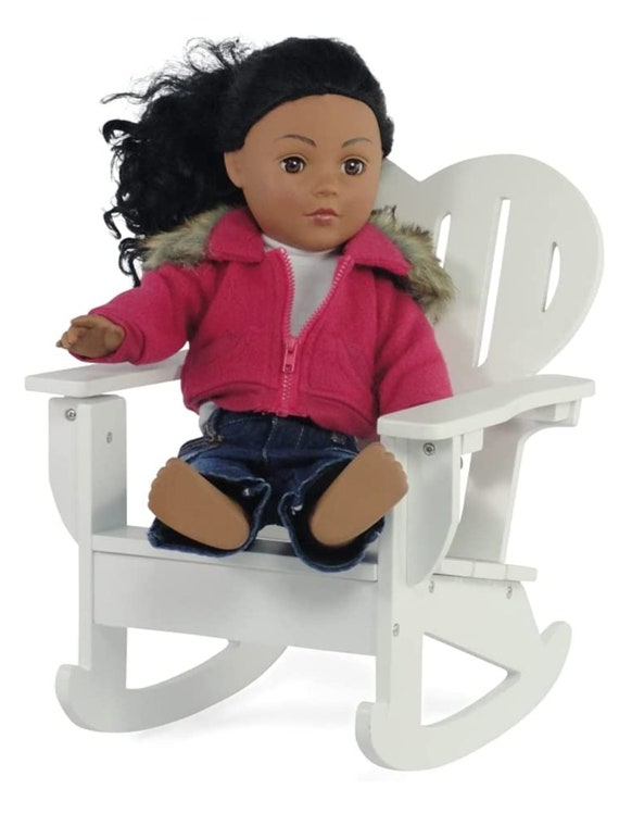 """Best Seller - Emily Rose 18-Inch Doll Furniture - White Adirondack Rocking 18"""" Doll Chair - fits American Girl Dolls"""