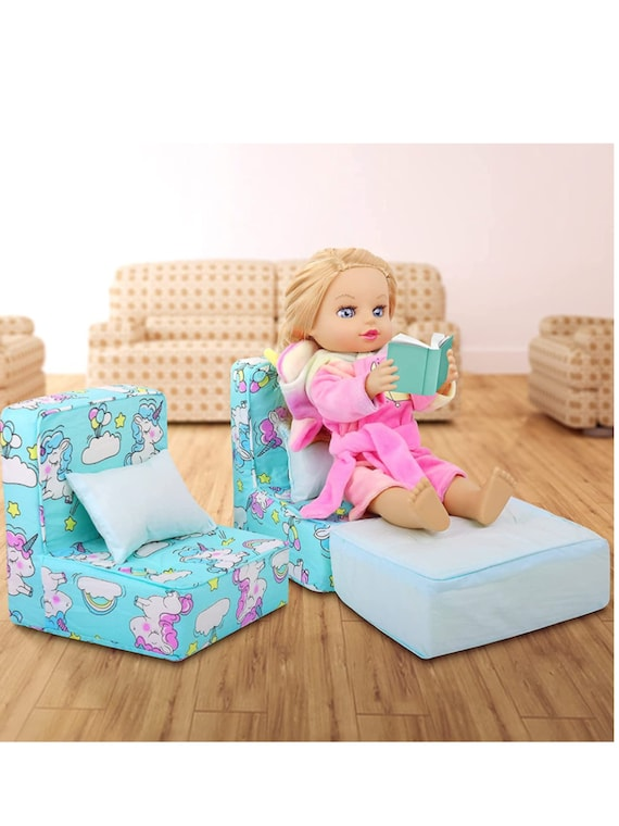 ZITA ELEMENT 5 Pcs American 18 Inch Girl Boy Doll Accessories Furniture Sofa with Pillow Set for 14.5 - 18 Inch Doll Accessories  Sofa Furni