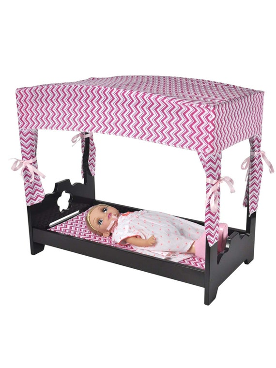 """Naomi Home Kids Canopy Doll Bed Espresso - includes bedding- fits 18"""" dolls"""