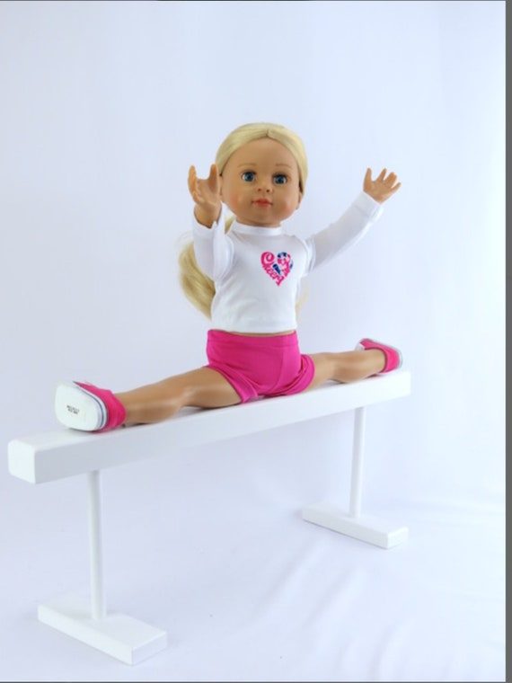White Wood Balance Beam for Gymnastics or Dance 18-Inch Doll Size