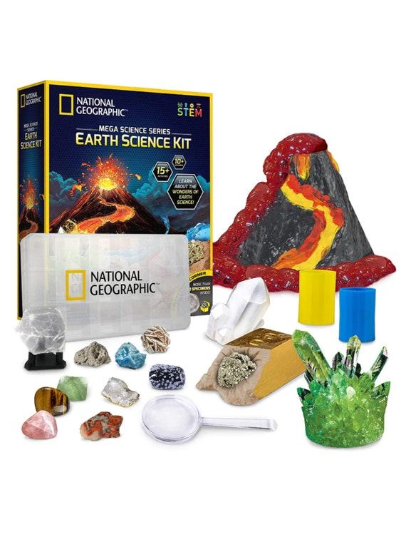 Earth Science Kit- 15 Science Experiments -STEM Activitie for Kids, Crystal Growing, Erupting Volcanos, 2 Dig Kits & 10 Genuine Specimens
