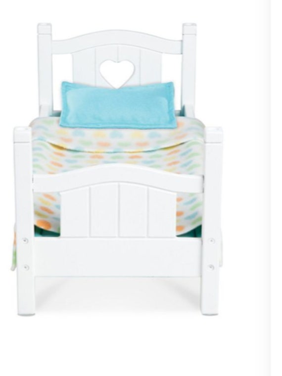"""Melissa & Doug Mine to Love Wooden Play Single Bed for 18"""" Dolls, Stuffed Animals - White"""