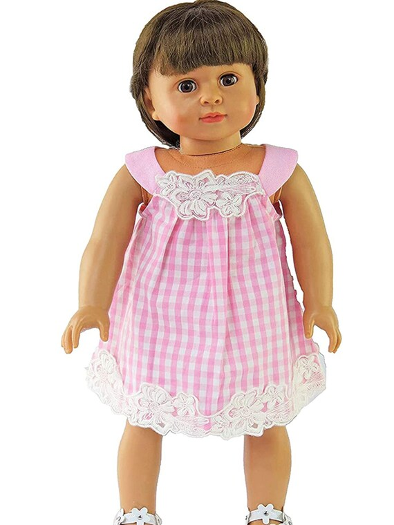 Pink and White Checkered Dress Made to fit 18 inch Dolls Such as American Girl Dolls