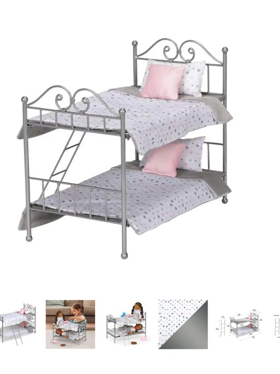 """Scrollwork Metal Doll Bunk Bed with Ladder and Bedding - 18"""" Dolls– Silver/Pink/Stars"""