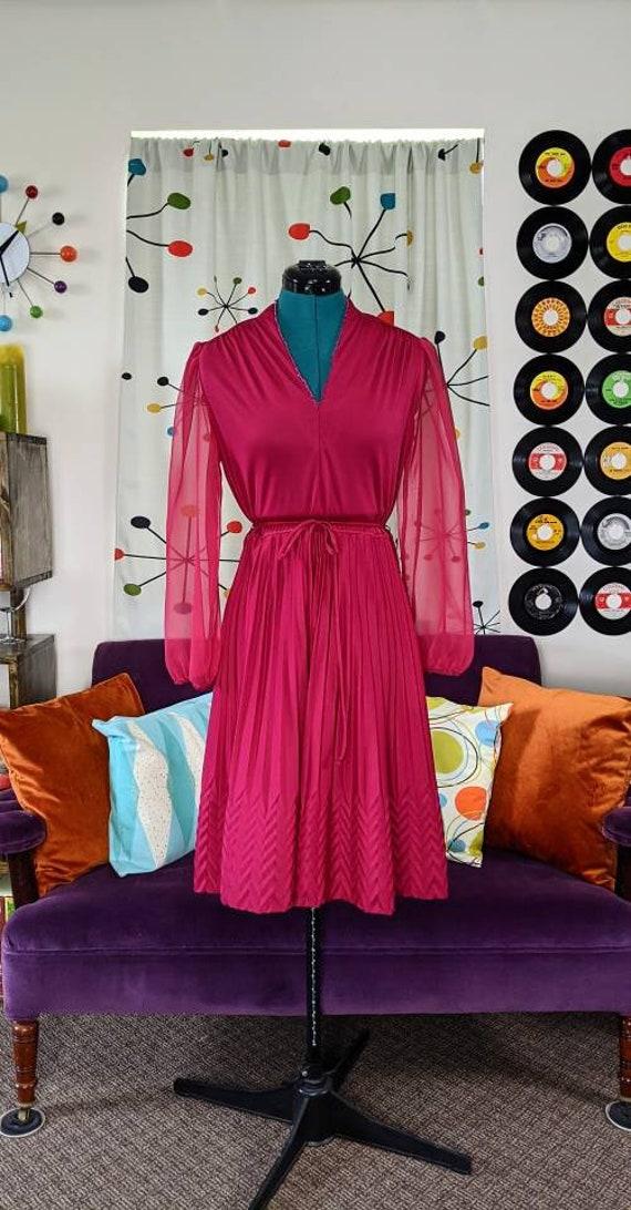 1970s/1980s Raspberry Vintage Dress Sheer Sleeves