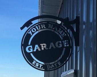 Name Personalized, Steel, Metal, Hanging, Garage, Sign