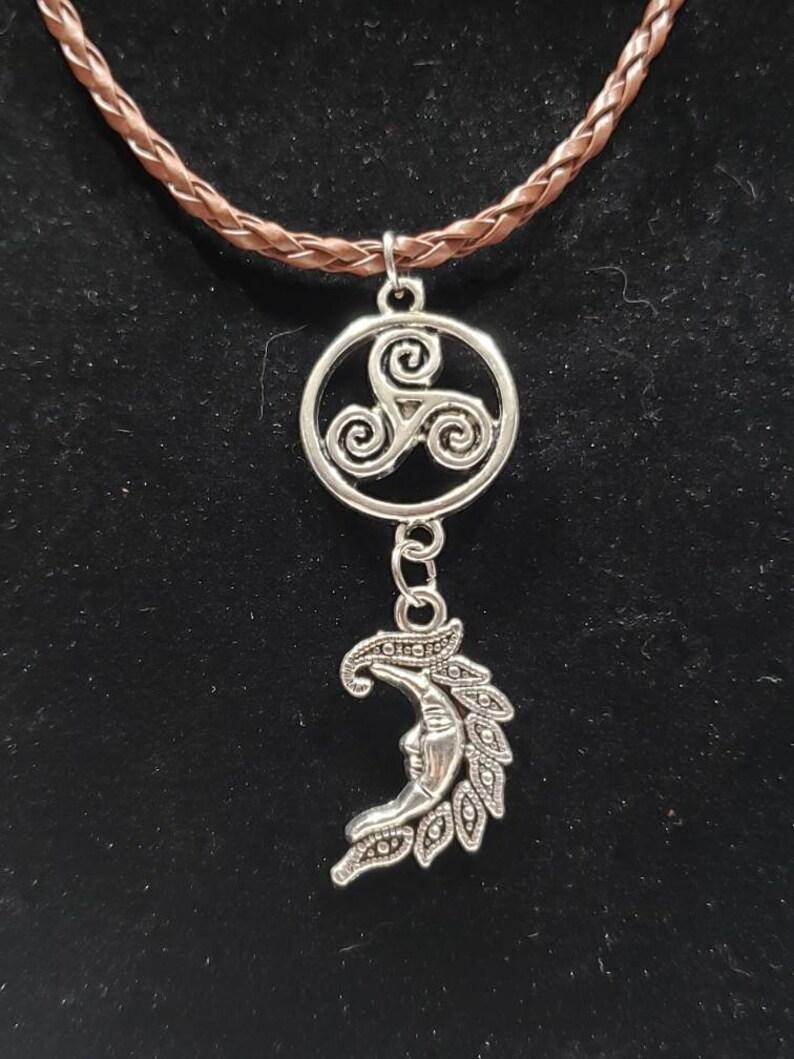 Triskelion and crescent moon pendant necklace