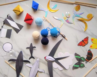 developmental sensory material Montessori Mobile Super DIY Set for babies includes 7 mobile kits educational