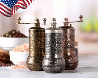 Gold Salt and Pepper Grinder Set-Golden sel et poivre Shaker Mill-Laiton