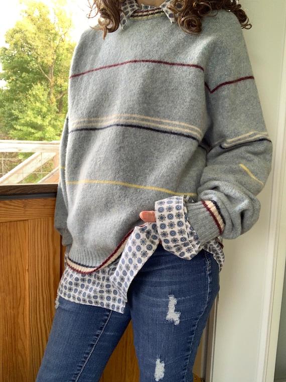 1980's Wool Striped Sweater by Carmel/ Vintage Str