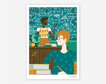 School Maths Classroom Illustration Digital Print