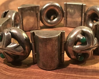Vintage TAXCO Sterling Silver Mexican Clamp Cuff Bracelet 70 .9 grams