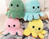 Flip Octopus Plush Double-Sided Expression Flip, Cute Valentines Gift For Her, Mood Plush,