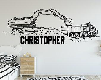 Exquisite excavator Wall Stickers Modern Interior Art Nursery Vinyl Art Decals