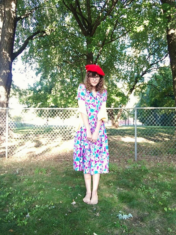 Vintage 1980s Does 1950s Floral Shirt Dress