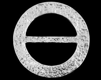 Pewter scarf ring (S) (M)  - Beaten Circle