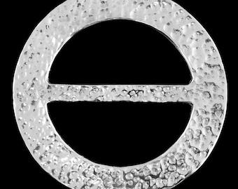 Pewter scarf ring (L)  - Beaten Circle