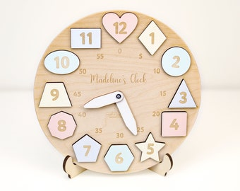 Personalized Wooden Name Clock with Shapes, Christmas Gift, Puzzle Toys for Toddler, Gift 1st Birthday, Montessori Toy, Baby Gift Boy  Girl