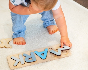 Personalized Wooden Name Puzzle New Baby Gift Wooden Baby Toys BabyShower Christmas Gift for Kids First Birthday Ring Boy proposal - Mark