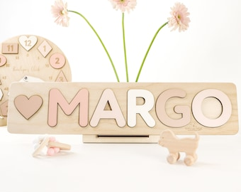 """Personalized Wooden Name Puzzle 1st Birthday gift Baby Gift Toy for  Toddler Kids, Christmas Gift, Personalize Puzzle, 3.1"""" letters - Margo"""