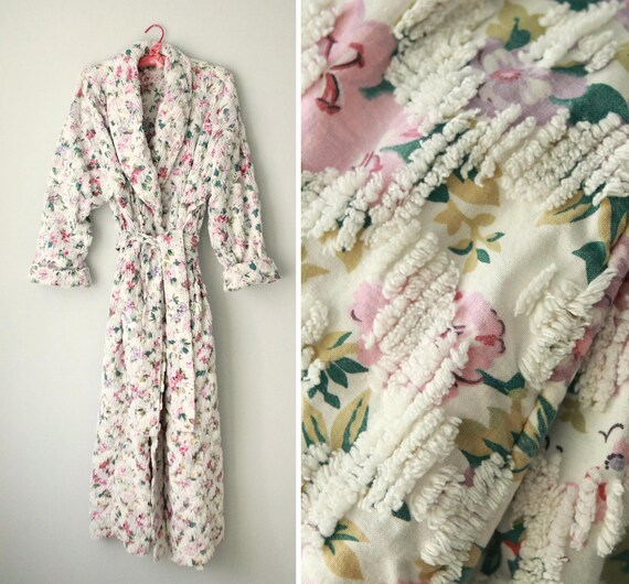 Vintage chenille robe, Floral chenille robe, LARGE