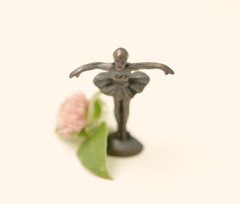 Vintage miniature ballerina Bronze ballet statue Vintage ballerina figurine