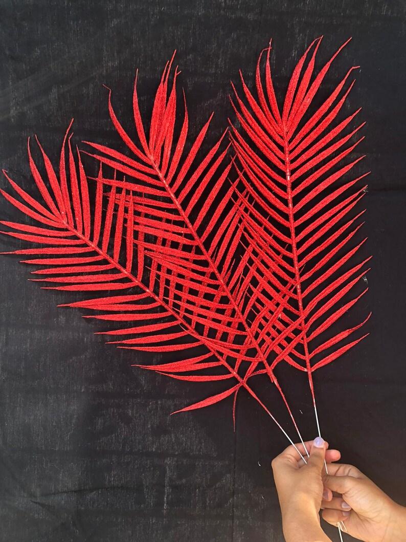 Floral arrangement decor diy red 1pc Red Glittery Palm Leaf Stem Pick Faux Palm Leaves Trending Backdrop decor DIY party decor backdrop