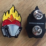 Accordion Revolution Flaming-Heart Enamel Pin/Badge