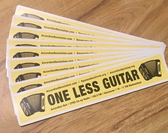 One Less Guitar accordion stickers!  (One or more stickers)