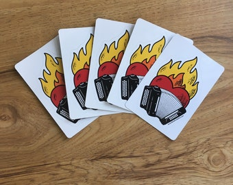 """Flaming-Heart Stickers: Accordion Revolution"""""""