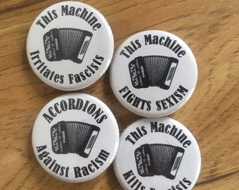 """Button Accordion """"This Machine..."""" 4 Pin/Badges (complete set)"""