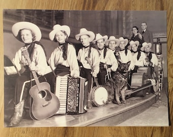 Country and Western Squeezebox Postcard: 1930s C&W Accordion Band Sepia Tone photo