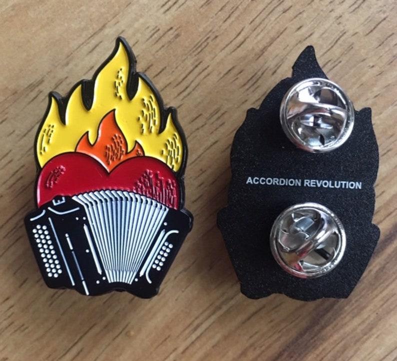 Flaming-Heart Enamel Pins: Accordion Revolution image 0