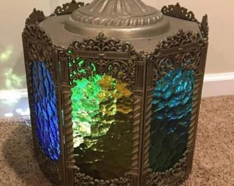 Vintage stained glass hanging chandelier