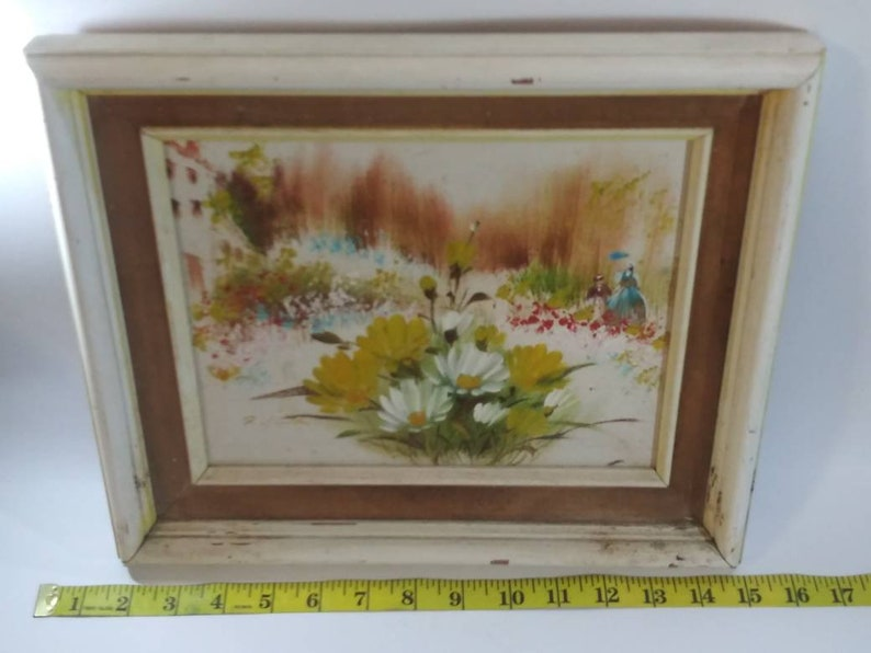 Linton Floral Walk in the Park Painting Signed R