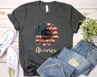 America Shirt T-Shirt, America Sunflower Flag Shirt, 4th Of July Shirt, Patriotic Shirt, USA Shirt, America Shirt, Cute USA Shirt
