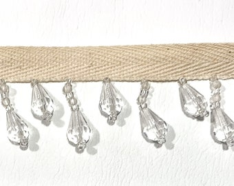 NOT Plastic 1.25 White//Clear 100/% Glass Crystal Beaded Fringe Trim CBF-2//1
