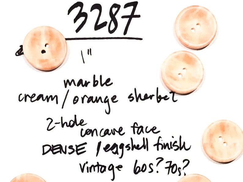 Set of 4 Marble 1 Cream Eggshell  2-hole High Quality Vintage 60s Coat Button B3287 40L 25 mm Orange Sherbet Big Resin Buttons