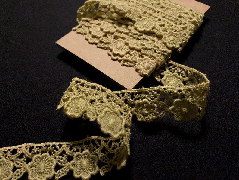 3 Yd Pkg Cotton Guipure Green Lace Trim T92 New Old Stock  Designer Apparel Trim  Vintage Deadstock