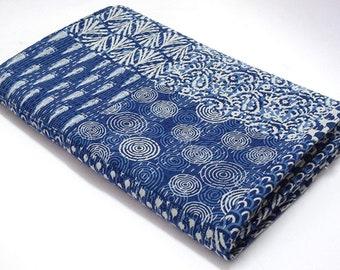 Handmade Beautiful Indico Bule Patchwork Print Kantha Quilt Decorative Bedspread Bedding Quilt Indian Throw Cotton Vintage Kantha Gudri