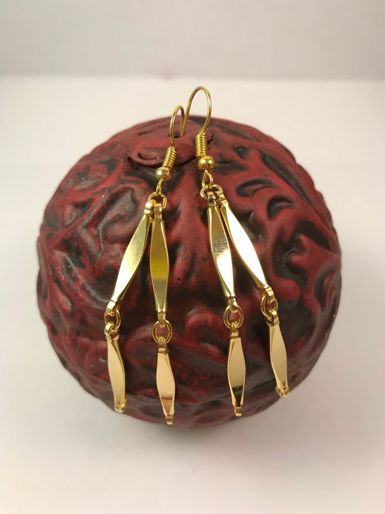 Long Dangle Earring American Made in USA Repurposed Vintage Gold Earrings Gift for Her