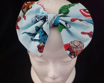 Black Widow Hair Bow Headband Bandana Avengers Marvel Fabric Tie Band Costume