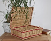 Vintage natural wicker case with red wicker edgy - boho decoration - 1970s artisan basket