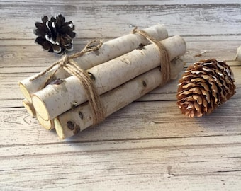 Christmas Tiered Tray Decor Mini Wood Log Bundle White birch logs Tiered Tray Fillers