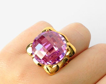 CR001-PG-IP Jewelry Craft Supplies Ice Pink Glass Adjustable Ring Polished Gold Plated over Brass  1 Pcs