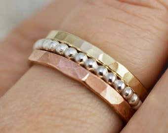 Gold and silver stacking rings | Handmade stacker rings | Sterling silver ring set | Stacker ring set | Handmade copper jewellery