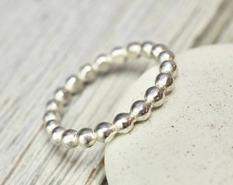 Pebble ring   Sterling silver pebble ring   Heavy pearl silver ring   Silver stacking ring   Handmade silver jewellery   Gift for her