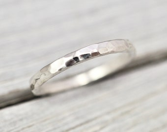 Hammered sterling silver ring | 2mm silver ring | Handmade silver jewellery | Stacking ring | Gift for her | Simple silver ring