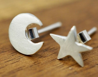Tiny moon and star earrings | Sterling silver moon and star studs | Handmade silver earrings | Gift for her