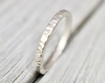 Hammered silver ring | Hammered 2mm sterling silver ring | Handmade sterling silver jewellery | Silver stacking ring | Gift for her |